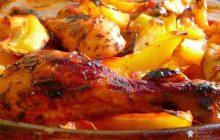 Fırında Sebzeli Soslu Tavuk Budu Yemeği Tarifi